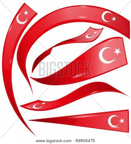 Turkey Set  Flag Isolated On White