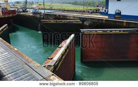 Double Locks Beginning to Open at the Panama Canal