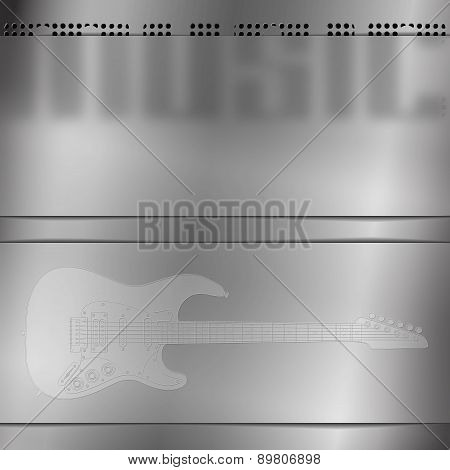 Musical Background With Engraved Guitar