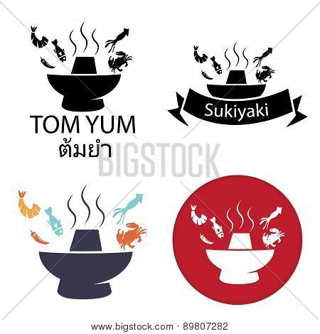 Tom Yum, Sukiyaki ,Spicy Hot pot logo and icon