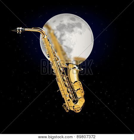 Saxophone On A Background Of The Moon