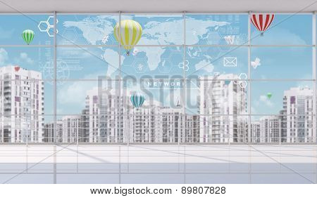 Cityscape with world map indoor view