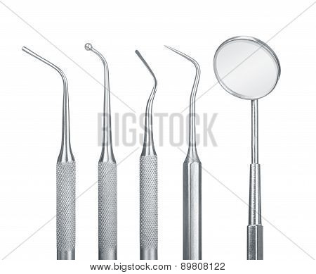 Set Of Metal Medical Equipment Tools For Teeth Dental Care