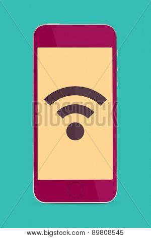 wireless connectivity. stylish touch screen mobile phone with flat designed network sign