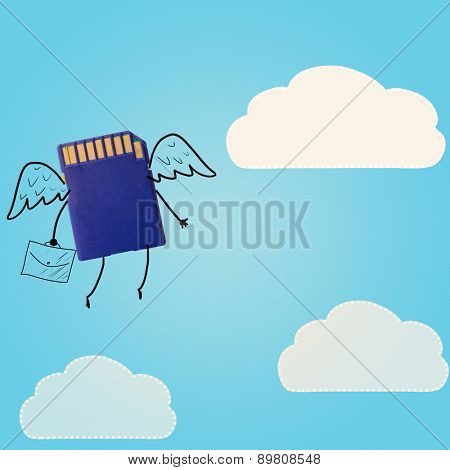 storage evolution. memory card with clouds in sky