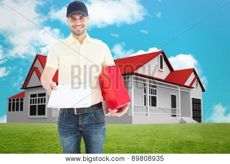 courier man with red box giving clipboard against blue sky