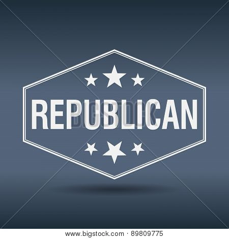 Republican Hexagonal White Vintage Retro Style Label