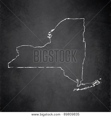 New York map blackboard chalkboard raster