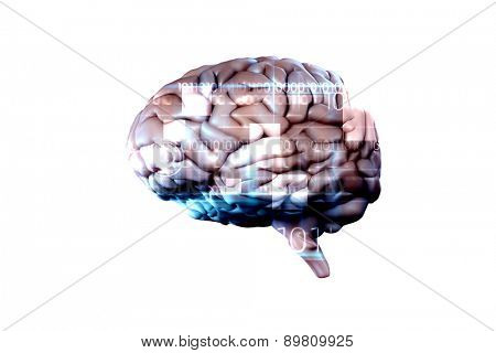 brain against blue technology design with binary code