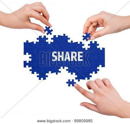 Hands With Puzzle Making Share Word  Isolated On White
