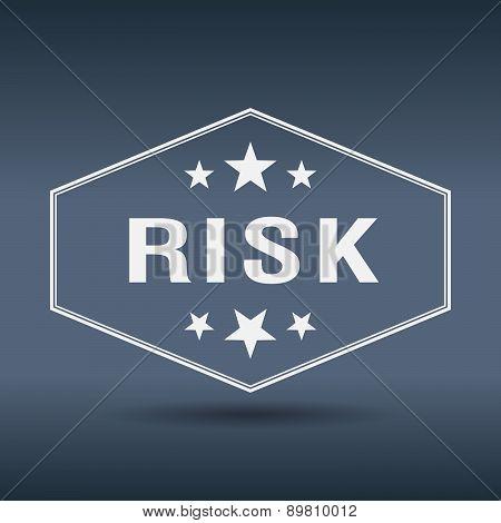 Risk Hexagonal White Vintage Retro Style Label