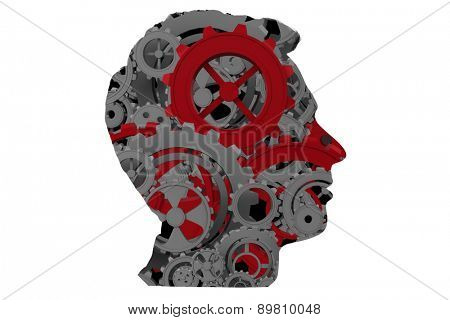Cogs and wheels against silhouette of head