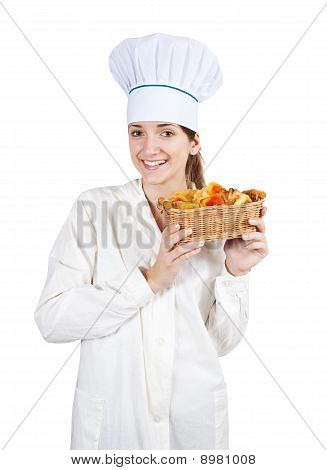 Cook Woman In Toque With Pastry