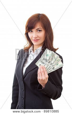 Businesswoman holding dollars