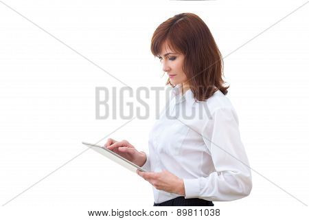 adult female in shirt using tablet