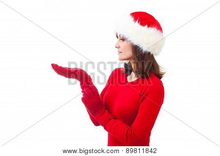 portrait of attractive caucasian adult woman isolated on white studio shot in santa's hat and red dr