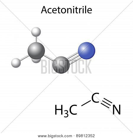 Structural Chemical Formula And Model Of Acetonitrile Molecule