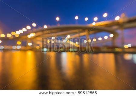 Abstract bokeh lights of Phomipoon Bridge