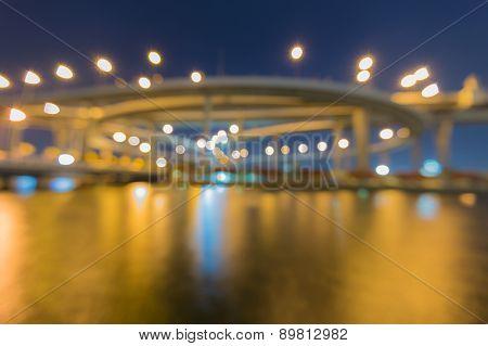 Blur bokeh of Industrial Ring Road Bridge Bangkok Thailand