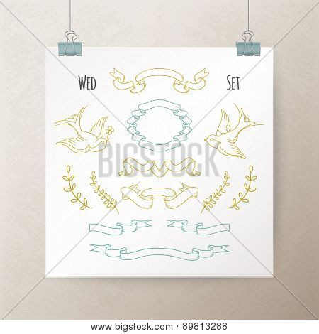 Set of hand drawn vintage ribbons and elements for your wedding design