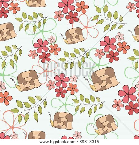 Seamless Pattern Cute Cartoon Snail And Flowers