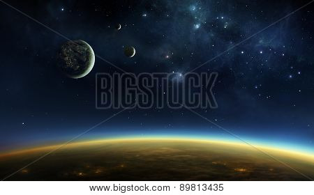 Illustration of an alien planet viewed from orbit in space above the twilight zone with lights of cities visible under the cloud layer and on one of the three moons.