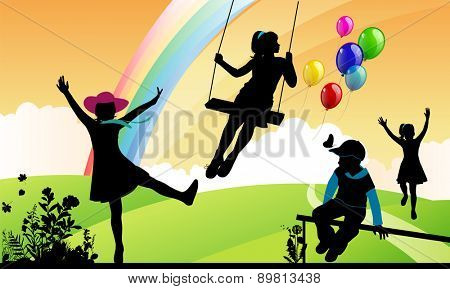 Girl shakes on a swing, children around