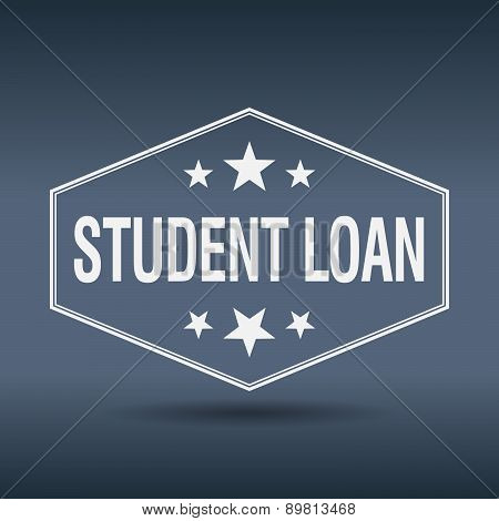Student Loan Hexagonal White Vintage Retro Style Label