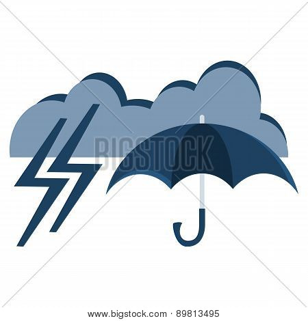 Vector Illustration Of Cool Single Weather Icon - Elegant Opened Umbrella And Cloud With  Thundersto