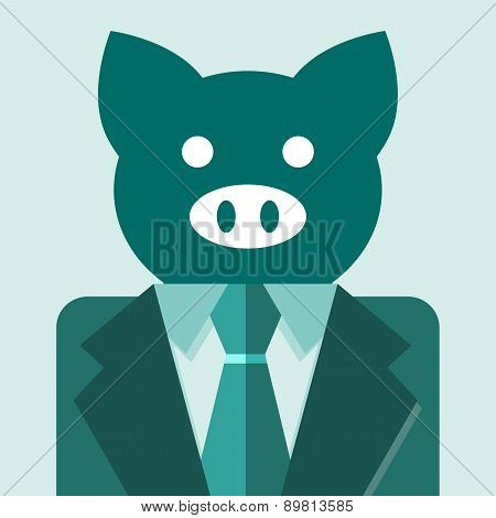 Business Pig. Vector Illustration Of A Business Pig Wearing A Suit