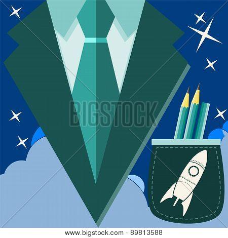 Concept Of Profession Suit. Scientist, Astronaut In A Suit Pocket Rocket With A Pencil.. Vector Illu