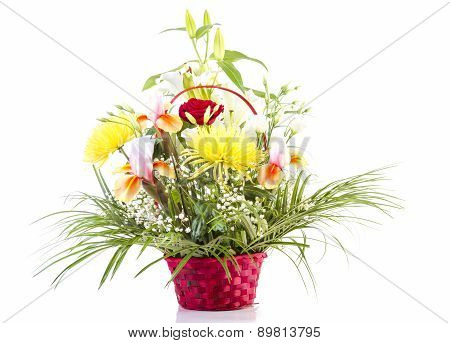 Basket with Flowers for Mother