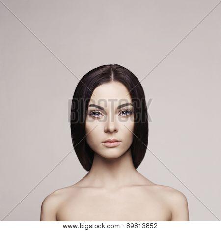 Fashion art photo of beautiful brunette lady. Health and beauty