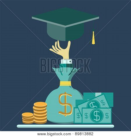 Vector Concept Of Investment In Education With Coins Bag