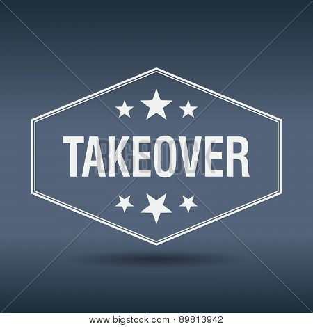 Takeover Hexagonal White Vintage Retro Style Label