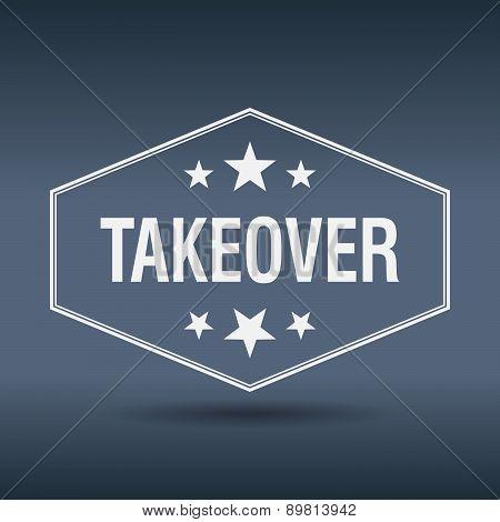 Takeover Hexagonal White Vintage Retro Style Label