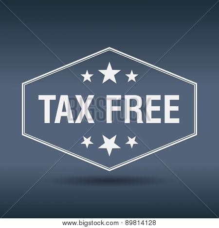 Tax Free Hexagonal White Vintage Retro Style Label