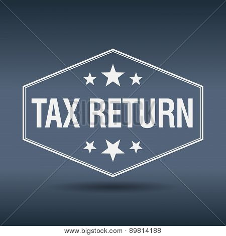 Tax Return Hexagonal White Vintage Retro Style Label