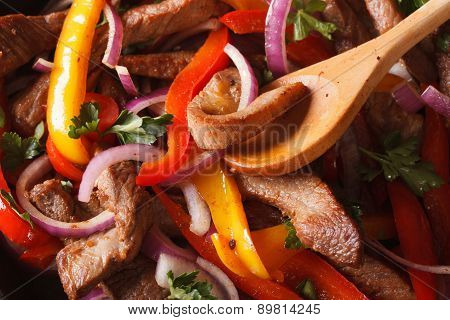 Cooking Fajitas: Beef With Vegetables. Macro Horizontal