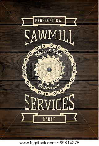 Sawmill Service Badges Logos And Labels For Any Use