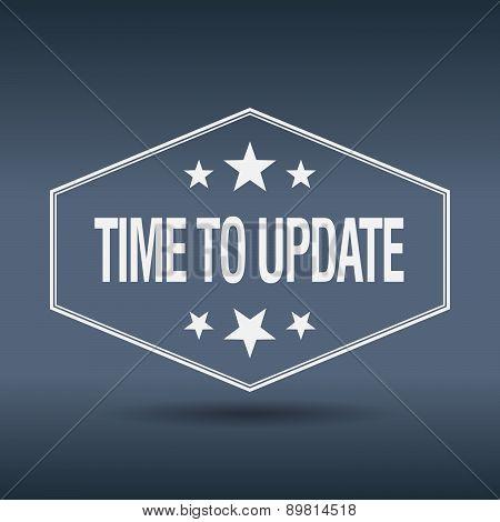 Time To Update Hexagonal White Vintage Retro Style Label