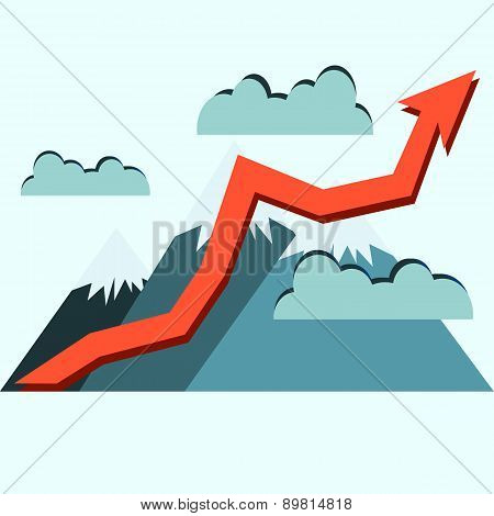 Growth Of Stock Market Graph. Higher Than The Mountains Concept Illustration. Success.