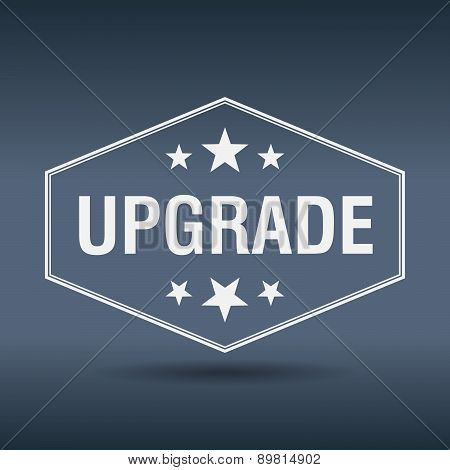 Upgrade Hexagonal White Vintage Retro Style Label