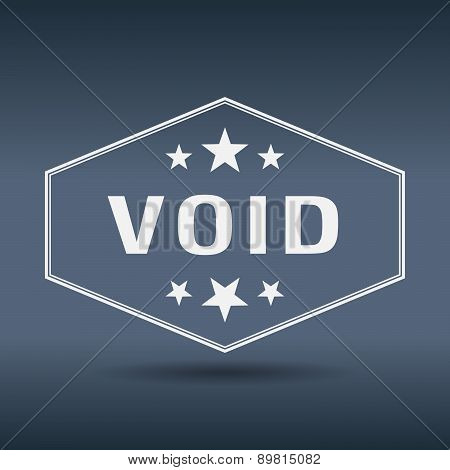Void Hexagonal White Vintage Retro Style Label