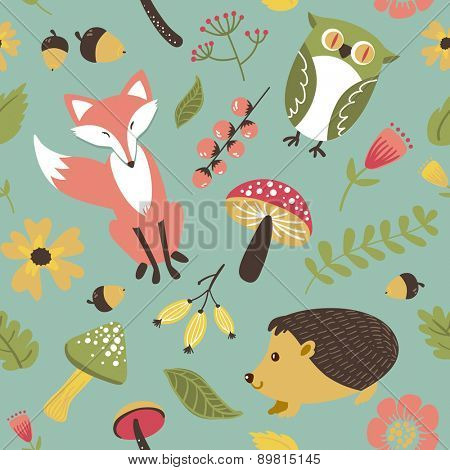 Autumn forest, woodland animals,leaves and flowers seamless pattern