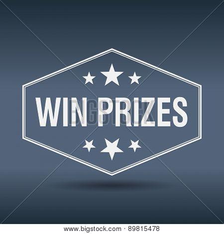 Win Prizes Hexagonal White Vintage Retro Style Label