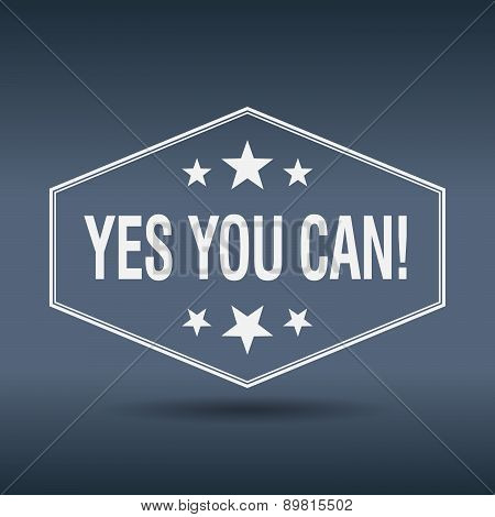 Yes You Can! Hexagonal White Vintage Retro Style Label