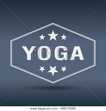 Yoga Hexagonal White Vintage Retro Style Label