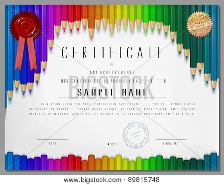 Gift Certificate, Diploma, Award Of Course Completion Template With Background As Color Pencils
