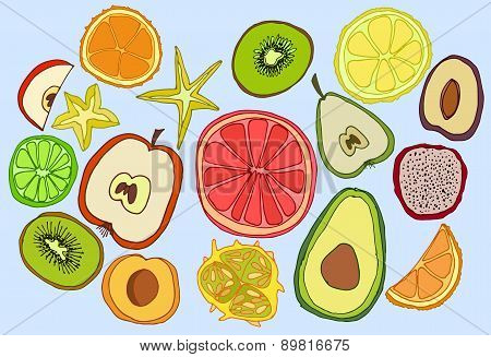 Hand-drawn fruits set